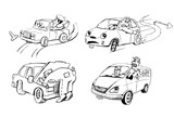 Funny sketches of people and cars