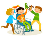 boy in wheelchair playing with his friends