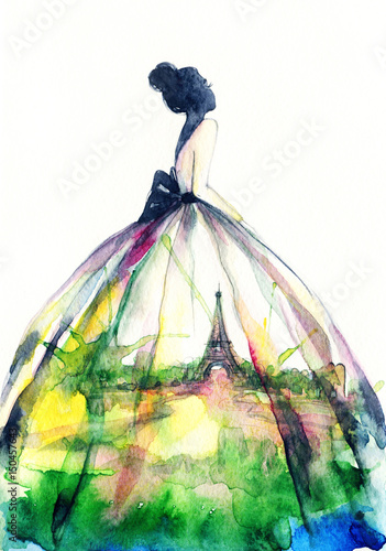 Woman in elegant dress. Fashion illustration. Watercolor painting