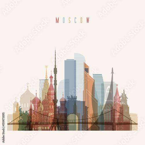 Szczegółowa sylwetka panoramę Moskwy. Przejrzysty styl