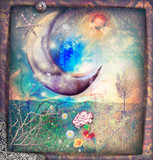 Fairytales landscape with silver moon,snow flakes and stars - 150526230