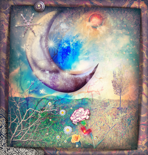 Fotobehang Imagination Fairytales landscape with silver moon,snow flakes and stars