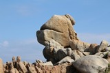 Bizarre rock formation in front of blue sky, Sardinia, Italy