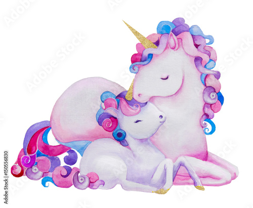cute watercolor unicorns
