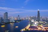 Bangkok city skyline with landmark.