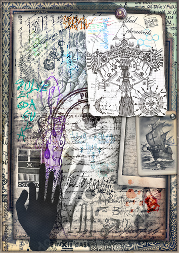 Old fashioned and mysterious papers with colored sketches and vintage stamps