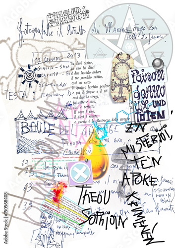 Old manuscript with draws,sketches,collage and alchemic scripts