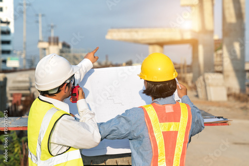 Engineers are working on road construction