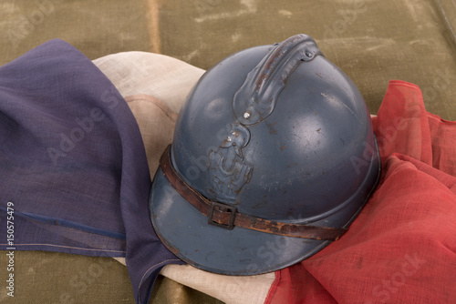 french military helmet of the First World War on red white blue flag Poster