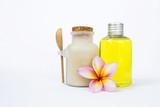 Spa product on white background, body scrub powder and bath gel on white background