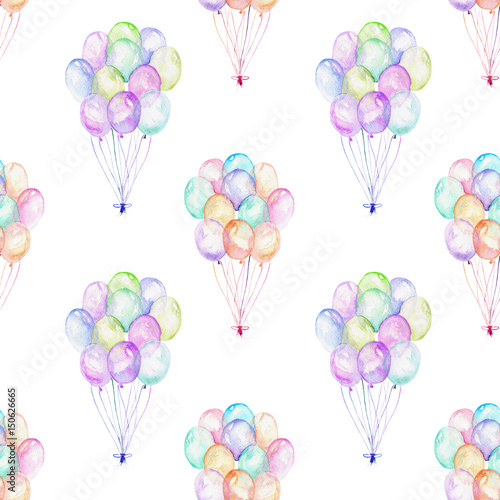 Seamless pattern with watercolor bundle of balloons, hand drawn isolated on a white background - 150626665