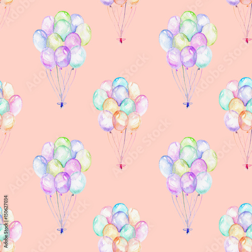 Seamless pattern with watercolor bundle of balloons, hand drawn isolated on a pink background - 150627034
