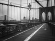Brooklyn bridge walkway in black and white