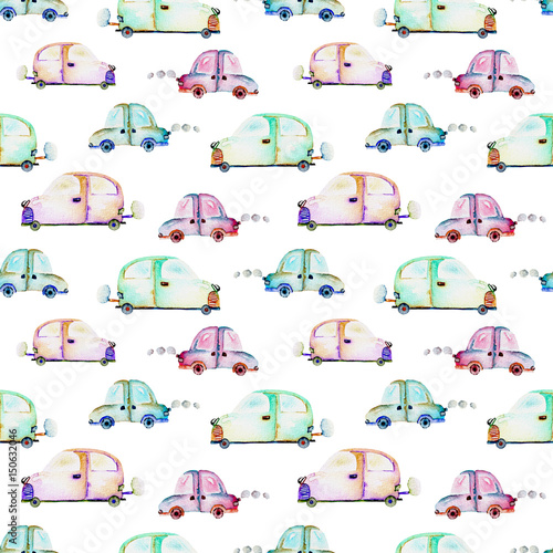 Seamless pattern with watercolor toy cars, hand drawn isolated on a white background - 150632046