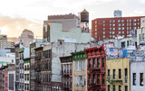 Colorful old buildings and rooftops of Chinatown in Manhattan, New York City NYC