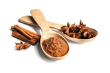 Cinnamon sticks and powder with anise stars in wooden spoons isolated on white