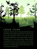 vector rainforest wetland silhouettes in sunset design template