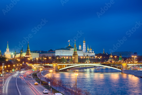 Poster View of Kremlin during blue hour in Moscow, Russia