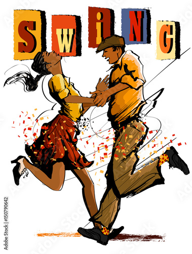 Tuinposter Art Studio Woman and man dancing swing