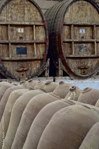 Fotobehang Oude verlaten gebouwen Industrial wine and pisco production, at vineyards near Ica, Peru