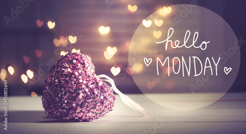 Hello Monday message with a pink heart