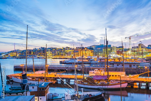Oslo city, Oslo port with boats and yachts at twilight in Norway Poster