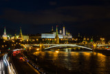 Moscow in the evening. View of the Kremlin from the Patriarchal bridge.