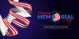 Happy Memorial Day greeting card with national flag colors ribbon and white star on dark background. Remember and honor. Can be used for design your website or print publications and other. - 150839484
