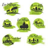 Vector icons for eco park and gardening company