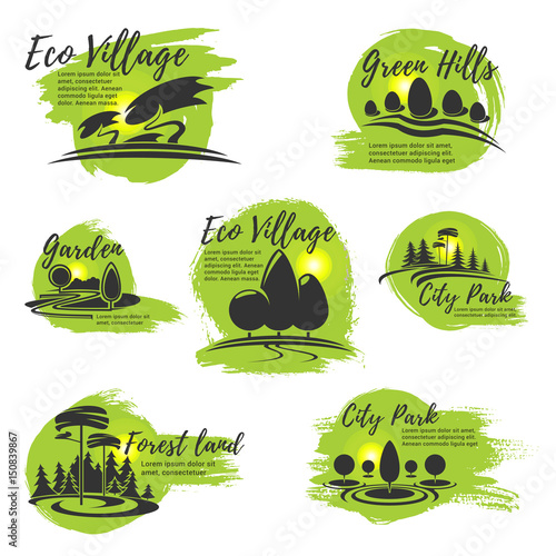 Fotobehang Lime groen Vector icons for eco park and gardening company