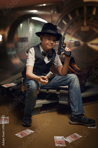 bank robbery of young boy Poster