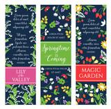 Springtime garden flowers vector banners set