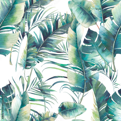 summer-palm-tree-and-banana-leaves-seamless-pattern-watercolor-texture-with-green-branches-on-white-background-hand-drawn-tropical-wallpaper-design