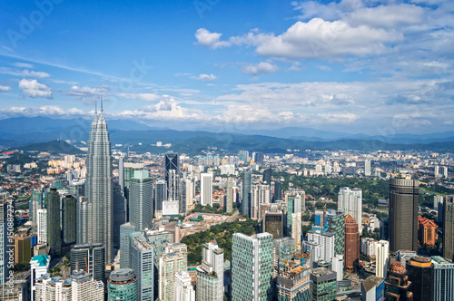 Fotobehang Kuala Lumpur Aerial view of Kuala Lumpur skyline, Malaysia