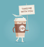 Cup of coffee. Coffee to go. Funny cartoon styled vector illustration.