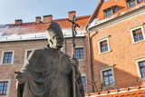 Statue of Pope John Paul II. Wawel, Krakow, Poland.