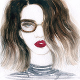 Woman with glasses. Fashion illustration. Watercolor painting