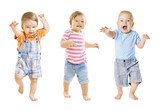 Fototapety Baby Go, Funny Kids Expression, Playing Babies Isolated over White Background, one year old children
