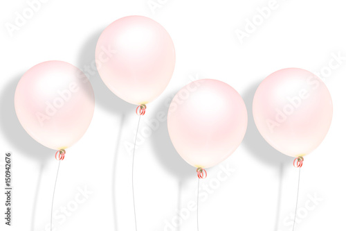 balloon pink color pastel for party time in isolate background