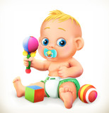 Baby and toys, 3d vector icon