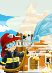 cartoon stage with fireman near burning building colorful scene - illustration for children