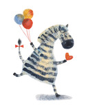 Zebra with balloons and heart. Watercolor illustration. Hand drawing - 150996280