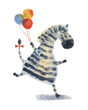 Zebra with balloons. Watercolor illustration. Hand drawing