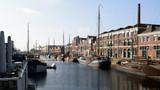 Picturesque Dutch landscape showing the harbor of Delfshaven, Rotterdam
