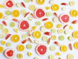Fruit pattern. Food background. Fresh citrus fruits in a cut. - 151002660