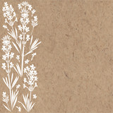 Floral background with  lavender flowers and place for text. Vector illustration on a kraft paper. Invitation, greeting card or an element for your design. - 151028253