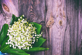 bouquet of white lilies of the valley