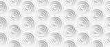Volume realistic embossing texture, circles сut in honeycomb, white background, 3d geometric seamless pattern, design vector wallpaper © panimoni