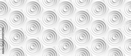 Volume realistic embossing texture, circles сut in honeycomb, white background, 3d geometric seamless pattern, design vector wallpaper - 151075093