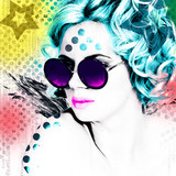 Stylish poster with a portrait of a pretty girl in round glasses. Modern interpretation of the style of Pop Art.